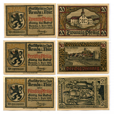 "1921 * Set 3 Notgeld Germania 20 . 30 . 50 Pfennig ""Turingia - Remda"" (1115.1)"