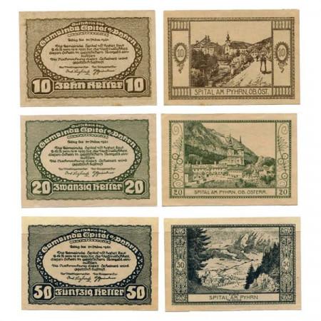 """1921 * Set 3 Notgeld Austria 10 . 20 . 50 Heller """"Alta Austria – Spital am Pyhrn"""" (KK 1007)"""