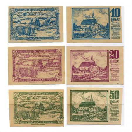 "1920 * Set 3 Notgeld Austria 10 . 20 . 50 Heller ""Alta Austria – Michaelnbach"" (KK 611)"