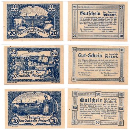 "1920 * Set 3 Notgeld Austria 20 . 30 . 50 Heller ""Alta Austria - Pöndorf"" (FS 757a)"