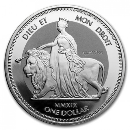 "2019 * 1 Dollar Argento 1 OZ British Virgin Islands ""Una And The Lion"" Prooflike"