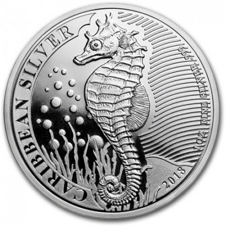 "2018 * 1 Dollar Argento 1 OZ Barbados ""Caribbean Seahorse"" FDC"