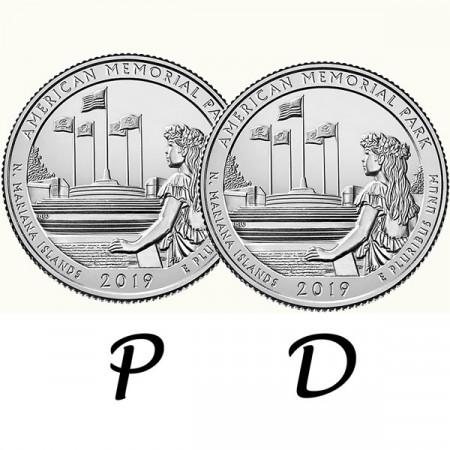 "2019 * 2 x Quarto di Dollaro (25 Cents) Stati Uniti ""American Mem Park - Mariana Islands"" P+D"