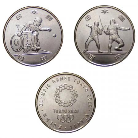 "2019 * Set 2 x 100 Yen Giappone ""Olympic Games Tokyo 2020"" UNC"