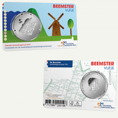 "2019 * 5 Euro OLANDA ""Beemster - 20° Anniversario Patrimonio Unesco"" FDC"