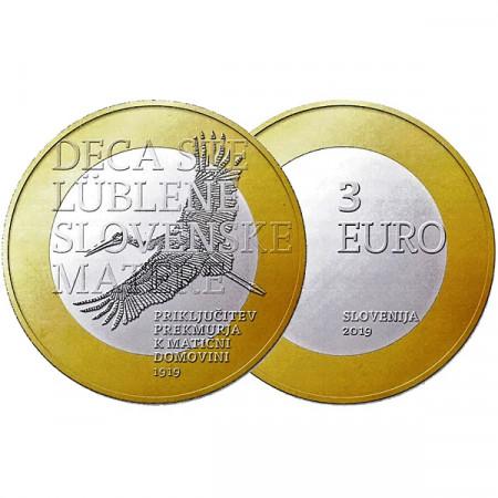 """2019 * 3 Euro SLOVENIA """"Centenario Adesione Regione Transmurania"""" UNC"""