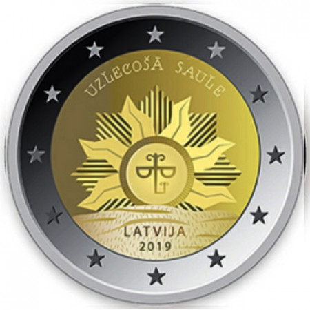 """2019 * 2 Euro LETTONIA """"Stemma della Lettonia: Sole Nascente"""" UNC"""