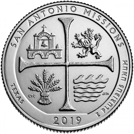 "2019 * Quarto di Dollaro (25 Cents) Stati Uniti ""San Antonio Missions National Historical Park"" UNC"