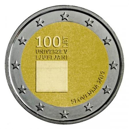 """2019 * 2 Euro SLOVENIA """"100° Fondazione dell'Università di Lubiana"""" UNC"""
