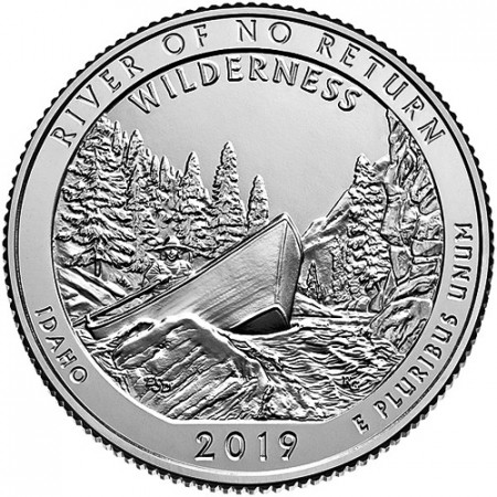 "2019 * Quarto di Dollaro (25 Cents) Stati Uniti ""River of No Return - Idaho"" UNC"