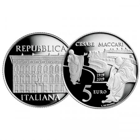 """2019 * 5 Euro ITALIA """"100° Cesare Maccari"""" PROOF"""