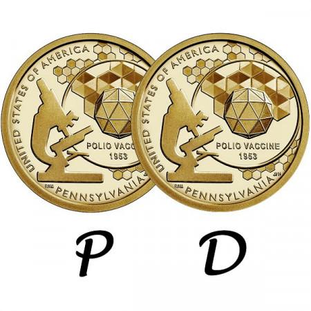 "2019 * 2 x 1 Dollaro Stati Uniti ""American Innovation - Pennsylvania - Polio Vaccine"" P+D"