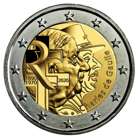 "2020 * 2 Euro FRANCIA ""50º Charles de Gaulle 80º Appello 18 Giugno"" UNC"