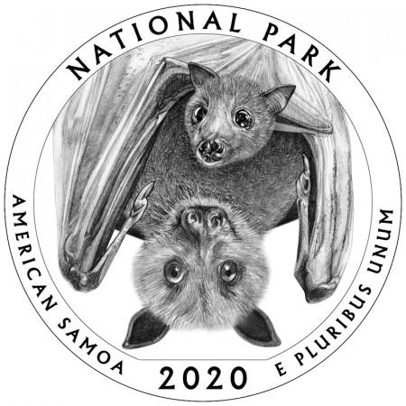 """2020 * Quarto di Dollaro (25 Cents) Stati Uniti """"National Park - American Samoa"""" UNC"""