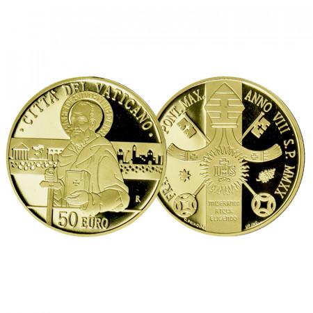 """2020 * 50 Euro Oro VATICANO """"Atti degli Apostoli: Paolo, il Testimone di Cristo"""" PROOF"""