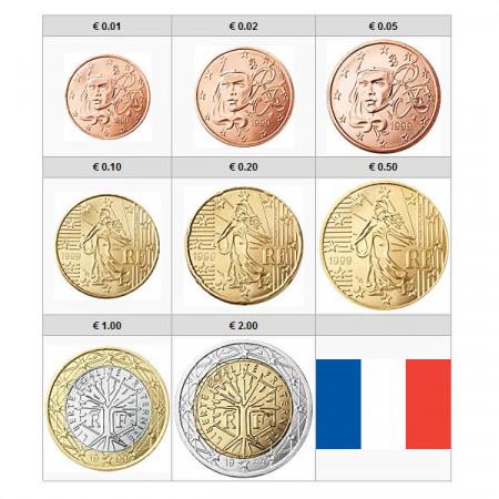 2021 * Serie 8 Monete Euro FRANCIA FDC