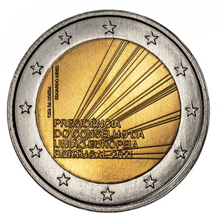 """2021 * 2 Euro PORTOGALLO """"Presidenza del Consiglio dell'Unione Europea"""" UNC"""
