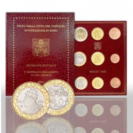 """2021 * VATICANO Divisionale Ufficiale 9 Monete """"5 Euro - Papa Leone X"""" FDC"""
