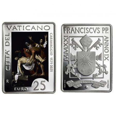"""2021 * 25 Euro Argento VATICANO """"450° Anniversario della Nascita di Caravaggio"""" Colorato PROOF"""