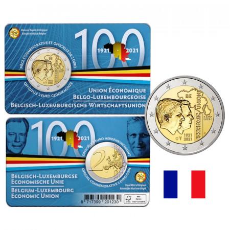 """2021 * 2 Euro BELGIO """"100º Unione Economica Belgo-Lussemburghese"""" Lato Francese Coincard"""