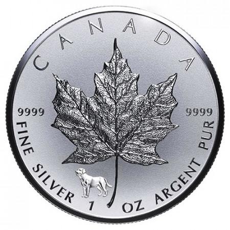 """2018 * 5 Dollari Argento 1 OZ Foglia Acero Canada """"Anno del Cane"""" Privy Mark"""