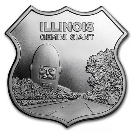 """2018 * Troy Ounce SMI 1 OZ Oncia Argento """"Stati Uniti - Route 66 - Illinois Gemini Giant"""" FDC"""