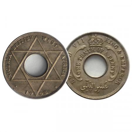 """1908 * 1/10 Penny British West Africa - Nigeria """"Amministrazione Britannica"""" (KM 3) qFDC"""