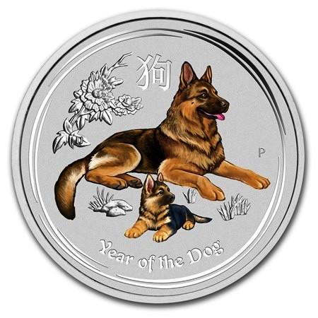 """2018 * 1 Dollaro Argento 1 OZ Australia """"Anno del Cane"""" Colorato"""