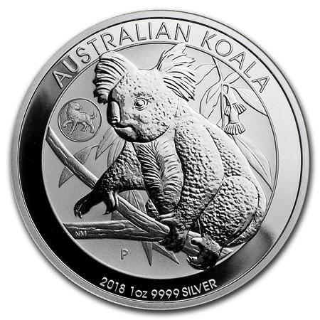 """2018 * 1 Dollaro Argento 1 OZ Australia """"Koala - Anno del Cane"""" Privy Mark FDC"""