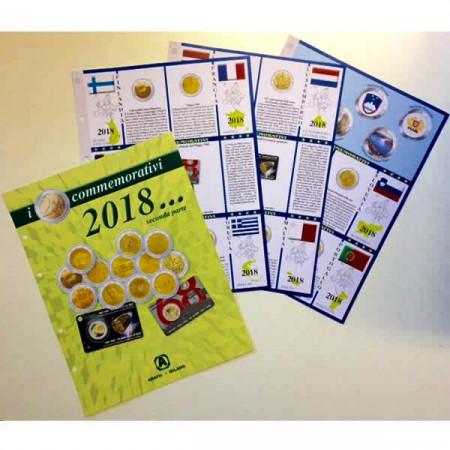 3 Fogli + Tasche 2 Euro Commemorativi 2018 - Parte 2 * ABAFIL
