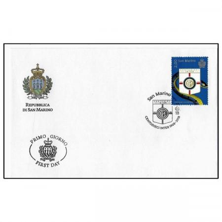 """2018 * Busta Filatelica Francobollo San Marino 2 Euro Timbro Primo Giorno """"Centodieci Inter 1908-2018"""""""