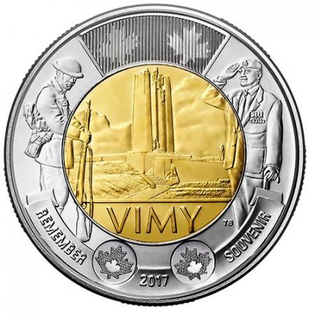 """2017 * 2 Dollari Toonie Canada """"Battle of Vimy Ridge"""" UNC"""