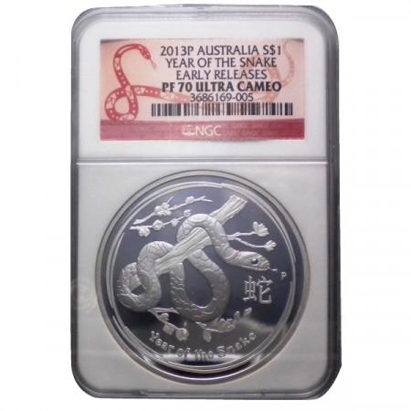 """2013 P * 1 Dollaro Argento 1 OZ Australia """"Anno del Serpente"""" PF70 Ultra Cameo"""