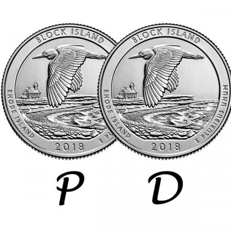 "2018 * 2 x Quarto di Dollaro (25 Cents) Stati Uniti ""Block Island - Rhode Island"" P+D"