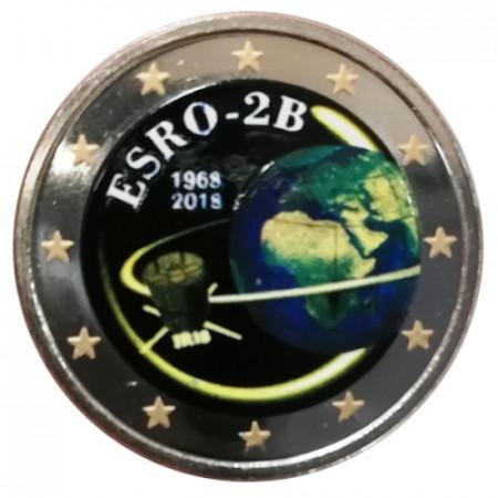 """2018 * 2 Euro BELGIO """"50º Lancio Satellite ESRO-2B"""" Colorato"""