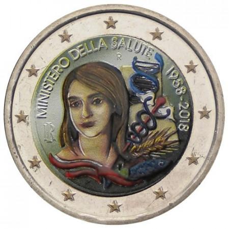 """2018 * 2 Euro ITALIA """"60° Ministero della Salute"""" Colorato"""