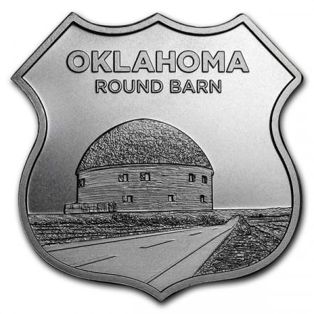 """2018 * Troy Ounce SMI 1 OZ Oncia Argento """"Stati Uniti - Route 66 - Oklahoma Round Barn"""" FDC"""