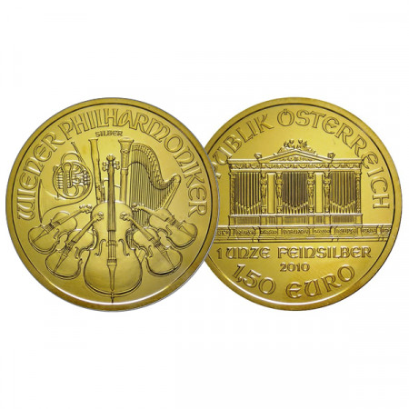"2010 * 1,50 Euro 1 OZ Oncia Austria ""Filarmonica - Gold Plated"" FDC"