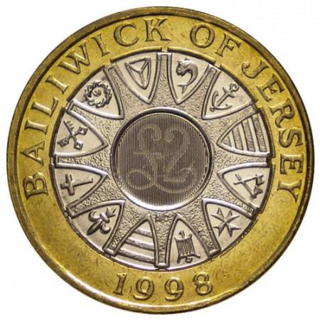 """1998 * 2 Pounds Jersey """"Elisabetta II - Bailiwick of Jersey"""" (KM 102) UNC"""