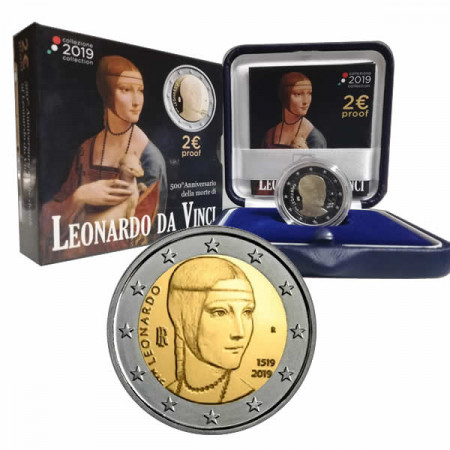 "2019 * 2 Euro ITALIA ""500° Morte di Leonardo da Vinci"" PROOF"