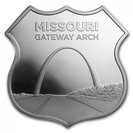 """2018 * Troy Ounce SMI 1 OZ Oncia Argento """"Stati Uniti - Route 66 - Missouri Gateway Arch"""" FDC"""