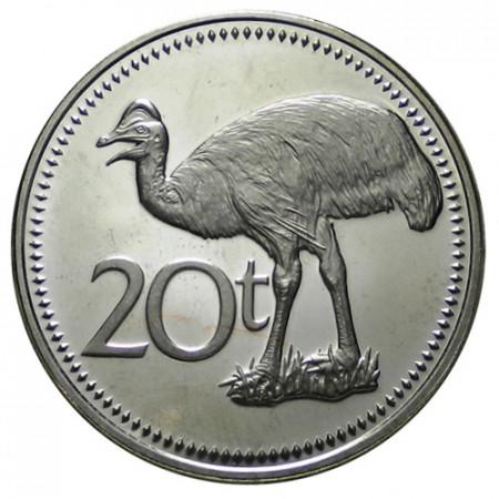 "1975 * 20 Toea Papua Nuova Guinea ""Bennett's Cassowary"" (KM 5) PROOF"