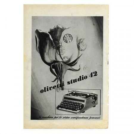 """1943 * Pubblicità Originale Informatica e Ufficio """"Olivetti - Studio 42"""" Bianco/Nero"""