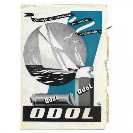 """1943 * Pubblicità Originale Dentifricio ODOL """"Trionfo di Candore - M Duse"""" Colori"""