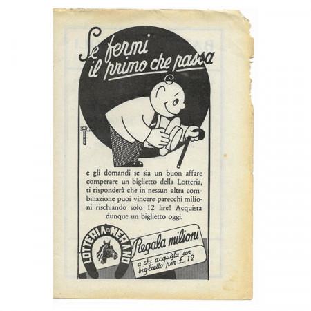 """1943 * Pubblicità Originale Scommesse e Lotterie """"Lotteria di MERANO"""" Bianco/Nero"""