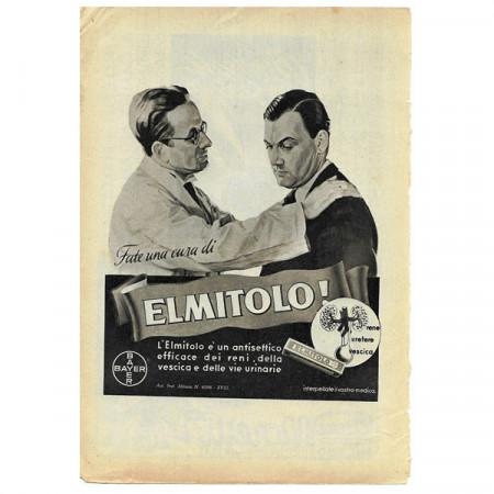 """1943 * Pubblicità Originale Farmaceutica """"BAYER - Elmitolo"""" Bianco/Nero"""