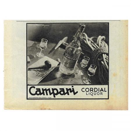 """1942 * Pubblicità Originale Liquore """"CAMPARI - Cordial - D'Aragona"""" Bianco/Nero"""