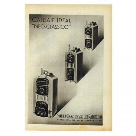 "1942 * Pubblicità Originale Caldaie ""IDEAL - Neo Classico"" Bianco/Nero"