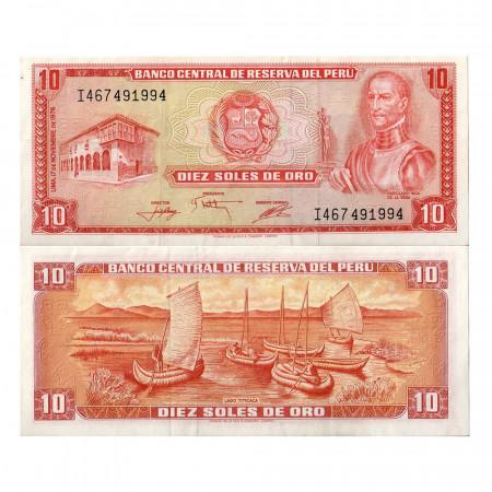 """1976 * Banconota Perù 10 Soles de Oro """"G de la Vega"""" (p112)  SPL+"""