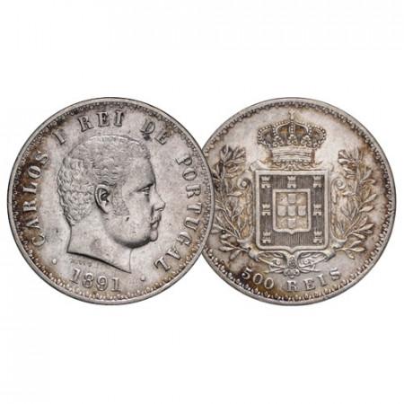 """1891 * 500 Reis Argento Portogallo """"Carlo I - Stemma Coronato"""" (KM 535) BB+"""